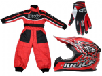 Wulfsport Kids MX Set Red Helmet Suit & Gloves